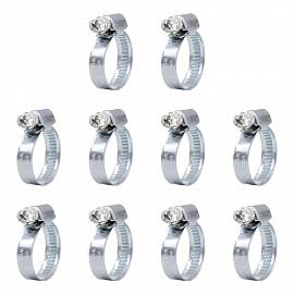 Schlauchschellen Set 11077, 10 Stück, Spannbereich 16 - 27 mm, Bandbreite 9 mm, W1
